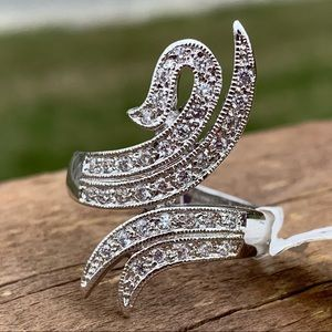 Swirling Cubic Zirconia Silver Statement Ring 10